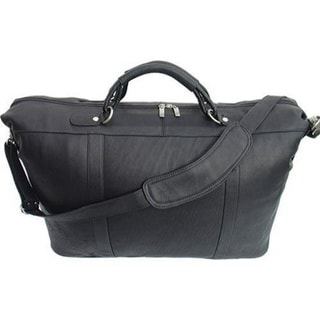 Piel Leather Black Large Carry On Satchel Tote Bag
