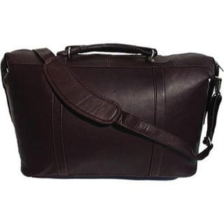 Piel Leather Chocolate Large Carry On Satchel Tote Bag