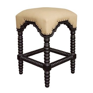 Ridged Leg Nailhead-trim Hand-rubbed Black Counter Stool