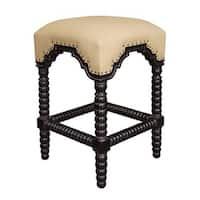 Ridged Leg Nailhead-trim Hand-rubbed Black Counter Stool