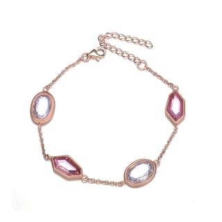 Collette Z Rose Goldplated Sterling Silver White and Pink Cubic Zirconia Chain Bracelet.