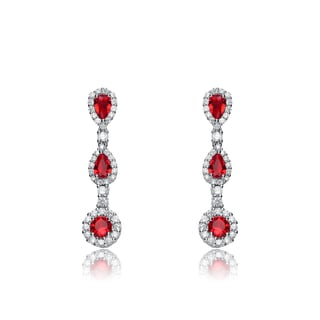 Collette Z Sterling Silver Red and white Cubic Zirconia Long Dangle Earrings