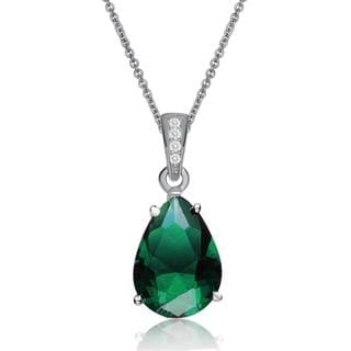 Collette Z Sterling Silver Green and White Cubic Zirconia Pear Drop Necklace