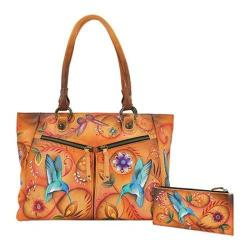Women's Anuschka Large Shopper with Front Pockets Flying Jewels Tan