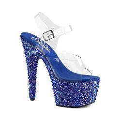Women's Pleaser Bejeweled 708MS Ankle Strap Sandal Clear PVC/Blue Multi Rhinestone