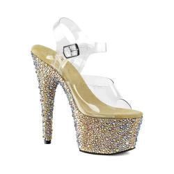 Women's Pleaser Bejeweled 708MS Ankle Strap Sandal Clear PVC/Gold Multi Rhinestone