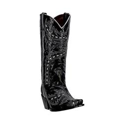 Dan Post Women's Western Boots Lori DP3519 Black Leather