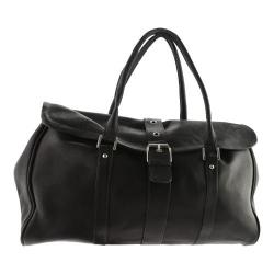 Piel Leather Buckle Flap-Over Satchel 3022 Black