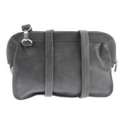 Women's Piel Leather Convertible Handbag/Clutch/Shoulder Bag 3070 Charcoal