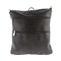 Women's Piel Leather Convertible Multi-Pocket Shoulder Bag/Backpack 305 Chocolate