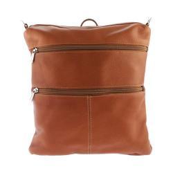 Women's Piel Leather Convertible Multi-Pocket Shoulder Bag/Backpack 305 Saddle