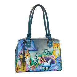 Women's Anuschka Triple Compartment Medium Satchel Cats in Wonderland