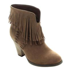 Women's Beston Dallas-03 Bootie Taupe Faux Suede