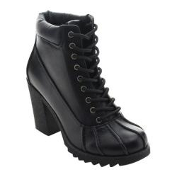 Women's Beston Forest-05 Ankle Boot Black Faux Leather