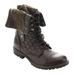 Women's Beston Galaxy-02 Ankle Boot Brown Faux Leather/Faux Fur