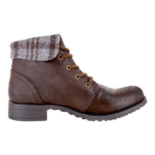 Women's Cliffs by White Mountain Thornhill Cuffed Ankle Boot Brown Fabric - Thumbnail 1