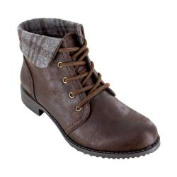 Women's Cliffs by White Mountain Thornhill Cuffed Ankle Boot Brown Fabric