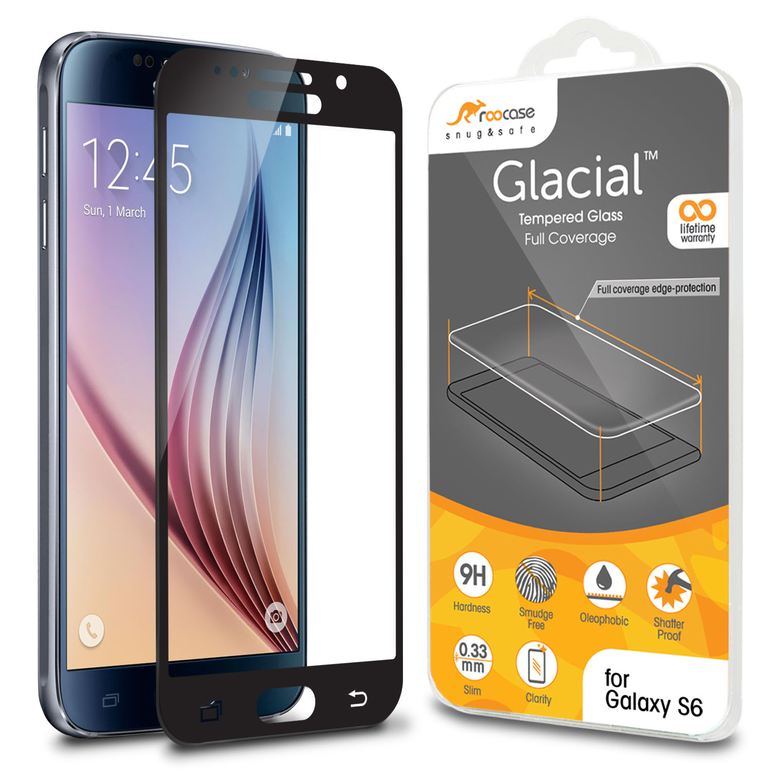 roocase Full Tempered Glass Screen Protector for Samsung Galaxy S6