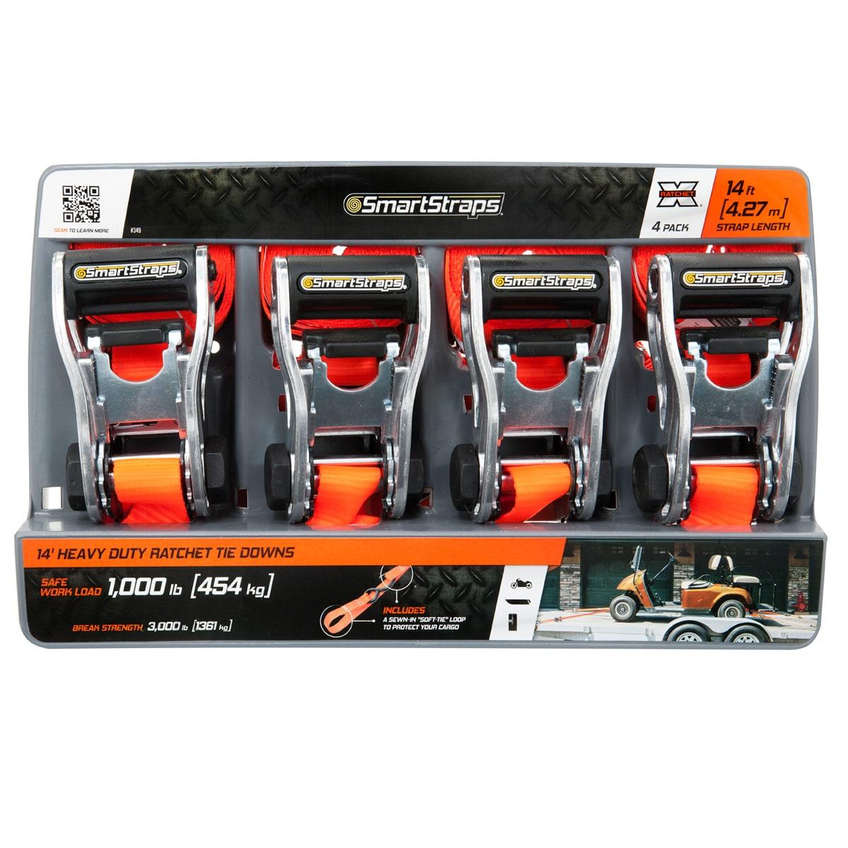 SmartStraps 14' 3000-pound RatchetX Tie Down Pack of 4 Orange