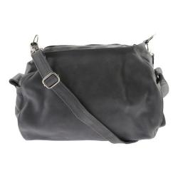 Women's Piel Leather Top-Zip Shoulder Bag/Cross Body Hobo 3041 Charcoal
