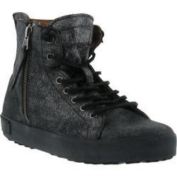 Women's Blackstone JL18 High Top Zipper Sneaker Black Graphite Full Grain Leather
