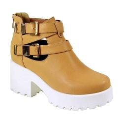 Women's Reneeze 0129JD001 Trendy Platform with Cut Outs Beige PU