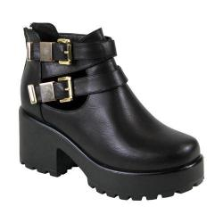 Women's Reneeze 0129JD001 Trendy Platform with Cut Outs Black PU