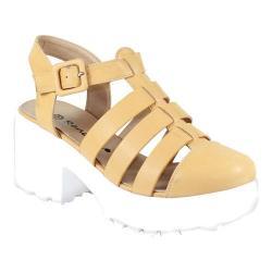 Women's Reneeze 0129JD005 Closed Toe Ankle Strap Sandal Beige PU