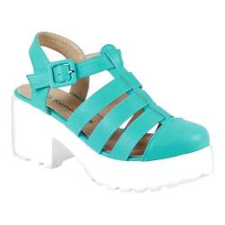 Women's Reneeze 0129JD005 Closed Toe Ankle Strap Sandal Turquoise PU
