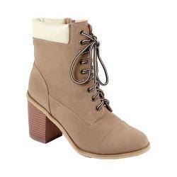 Women's Reneeze 15016-01 Lace-up Stacked Heel Working Bootie Beige PU