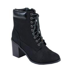 Women's Reneeze 15016-01 Lace-up Stacked Heel Working Bootie Black PU