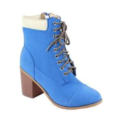 Women's Reneeze 15016-01 Lace-up Stacked Heel Working Bootie Blue PU