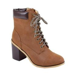 Women's Reneeze 15016-01 Lace-up Stacked Heel Working Bootie Brown PU