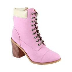Women's Reneeze 15016-01 Lace-up Stacked Heel Working Bootie Pink PU