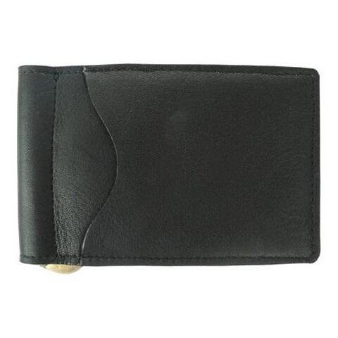 Piel Leather Bi-Fold/Money Clip 9067 Black