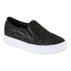 Women's Reneeze Olga-06 Slip-on Funky Glittery Sneaker Black PU