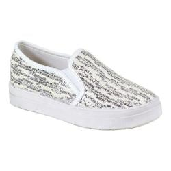 Women's Reneeze Olga-06 Slip-on Funky Glittery Sneaker White PU