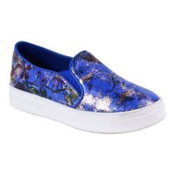 Women's Reneeze Olga-08 High Platform Slip-on Floral Sneaker Blue PU
