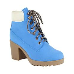 Women's Reneeze Opo-01 Lace-up Working Bootie Blue PU