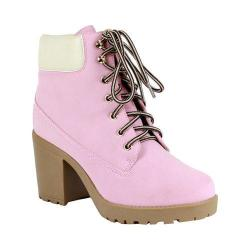 Women's Reneeze Opo-01 Lace-up Working Bootie Pink PU