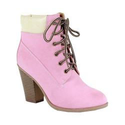 Women's Reneeze Pala-01 Lace-up Working Bootie Pink PU