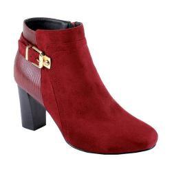 Women's Reneeze Pony-01 Stacked Heel Ankle Bootie Red