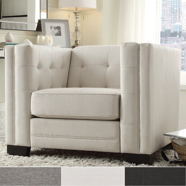Hamilton Linen Button Tufted Accent Chair By INSPIRE Q Bold