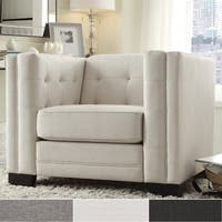 Hamilton Linen Button-tufted Accent Chair by iNSPIRE Q Bold