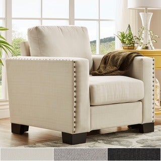Torrington Linen Nailhead Track Arm Accent Chair by INSPIRE Q