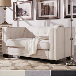 INSPIRE Q Hamilton Linen Button-tufted Loveseat