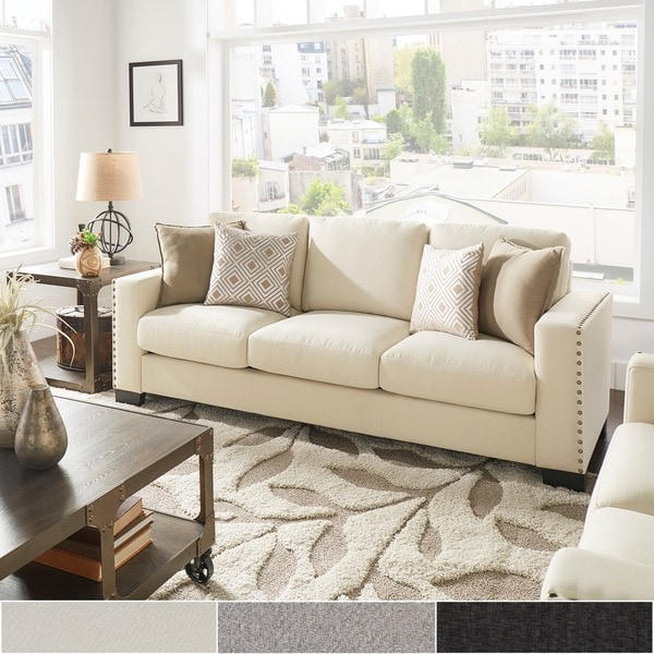 Great Shop Torrington Linen Nailhead Track Arm Sofa By Inspire Q Classic Rh  Overstock Com