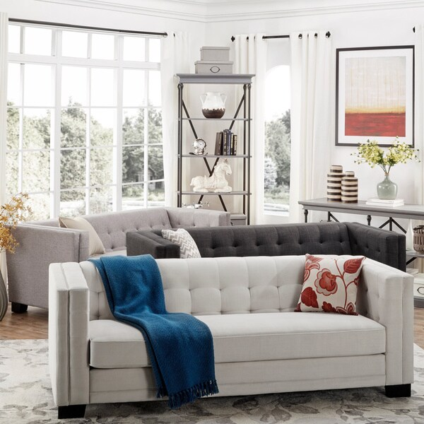 Hamilton Modern Linen Sofa With Button Tufting By INSPIRE Q Bold   Free  Shipping Today   Overstock.com   16588553