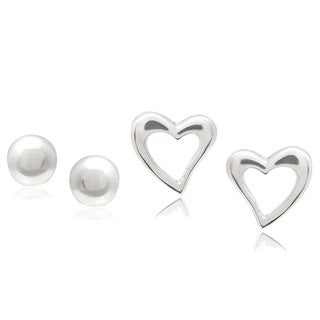 Journee Collection Sterling Silver Heart and Ball Stud Earrings (Set of 2)