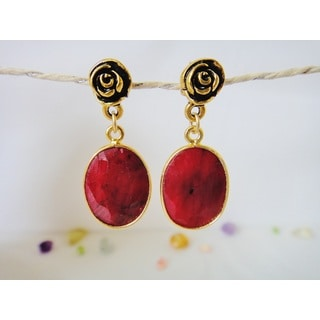 22k Gold Vermeil Ruby Rose Birthstone Dangle